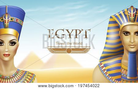 Background with queen Nefertiti and pharaoh Tutankhamen.