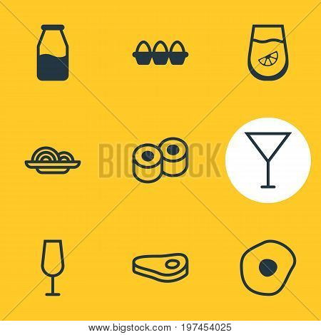 Editable Pack Of Scrambled Egg, Japanese Roll, Juice And Other Elements.  Vector Illustration Of 9 Meal Icons.