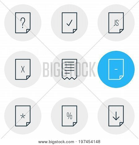 Editable Pack Of Percent, Folder, Basic And Other Elements.  Vector Illustration Of 9 File Icons.