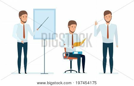 Concept of financial management, consultations, presentations. Financial manager conducts professional business lessons for employees and partners. Vector illustration in cartoon style.