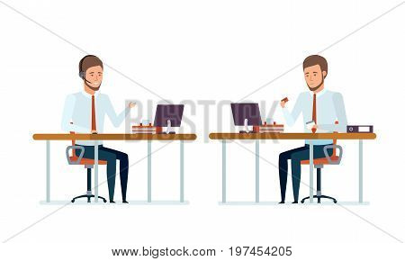 Concept of financial management. Financial manager advises clients on phone, video conferences, works with company products, documents. Work at office at table. Vector illustration in cartoon style.