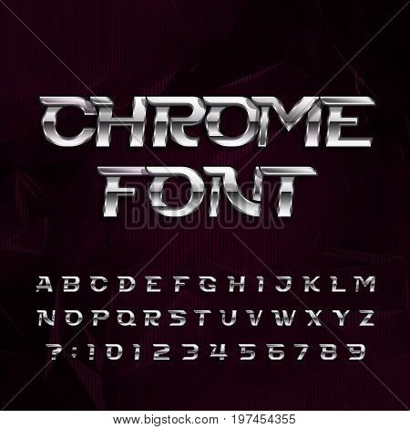 Chrome alphabet font. Metallic effect italic letters and numbers on a dark polygonal background. Stock vector typography for your design.