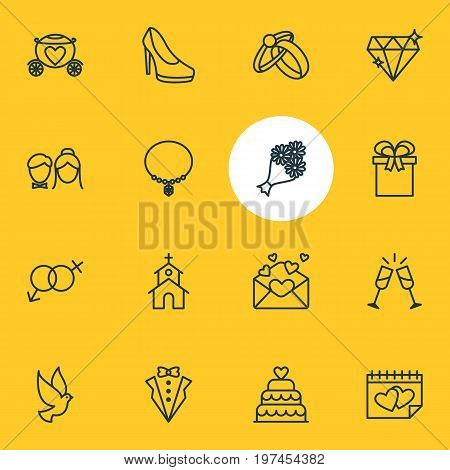 Editable Pack Of Bridal Bouquet, Sexuality Symbol, Pigeon And Other Elements.  Vector Illustration Of 16 Engagement Icons.