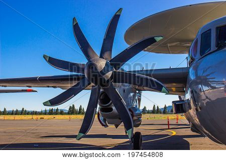 Unique Eight Bladed Propeller & Engine On Aircraft
