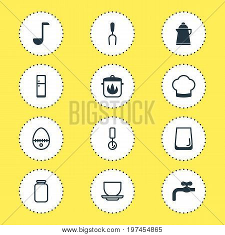 Editable Pack Of Faucet, Barbecue Tool, Tea And Other Elements.  Vector Illustration Of 12 Cooking Icons.
