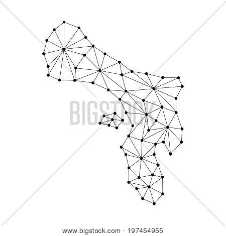 Bonaire map of polygonal mosaic lines network rays and dots vector illustration.