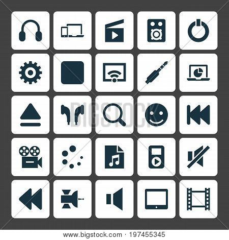 Music Icons Set. Collection Of Headphone, Smile, Power And Other Elements
