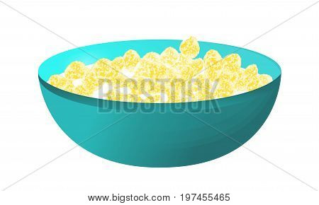 A bowl of cereal and milk isolated on white background. Corn flakes. Vector illustration.