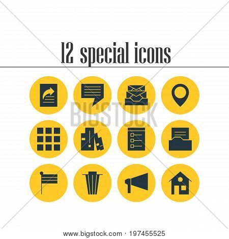 Editable Pack Of Messages, Chat, Document Directory And Other Elements.  Vector Illustration Of 12 Online Icons.