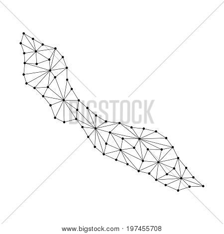 Curacao map of polygonal mosaic lines network rays and dots illustration. Raster copy.