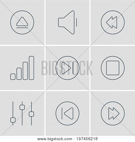 Editable Pack Of Decrease Sound, Subsequent, Reversing And Other Elements.  Vector Illustration Of 9 Melody Icons.