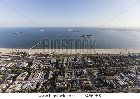 Aerial view of the Bluff Park and Belmont Shore neighborhoods in Long Beach, California.
