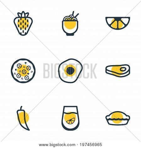 Editable Pack Of Sirloin, Berry, Scrambled Egg And Other Elements.  Vector Illustration Of 9 Food Icons.