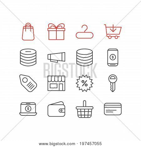 Editable Pack Of Buy, Money, Pocketbook And Other Elements.  Vector Illustration Of 16 Commerce Icons.