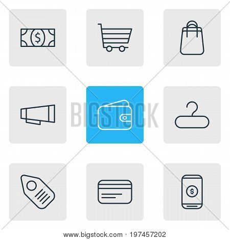 Editable Pack Of Pocketbook, Box, Coins And Other Elements.  Vector Illustration Of 9 Commerce Icons.