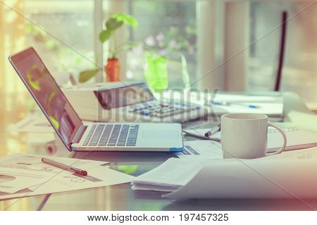 Open Laptop And Accessories With Coffee Cup For Home Workplace