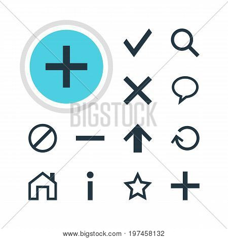 Editable Pack Of Magnifier, Talk Bubble, Wrong And Other Elements.  Vector Illustration Of 12 Interface Icons.