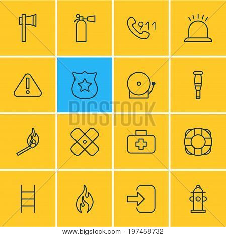 Editable Pack Of Medical Case, Badge, Exclamation And Other Elements.  Vector Illustration Of 16 Necessity Icons.