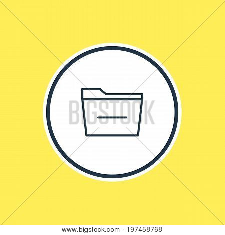 Beautiful Bureau Element Also Can Be Used As Deleting Folder Element.  Vector Illustration Of Minus Outline.