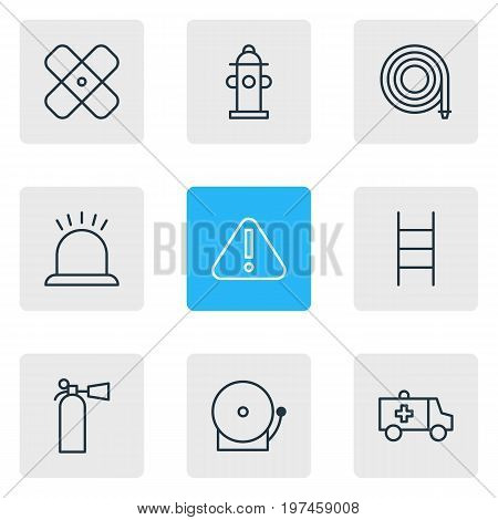 Editable Pack Of Siren, Adhesive, Exclamation And Other Elements.  Vector Illustration Of 9 Necessity Icons.