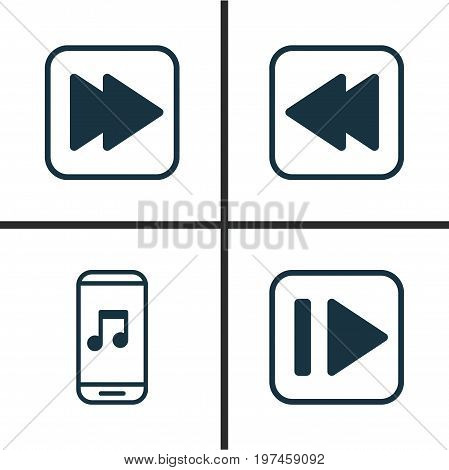 Music Icons Set. Collection Of Audio Mobile, Following Music, Following Song And Other Elements