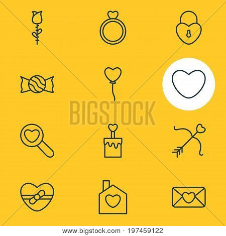 Editable Pack Of Lock, Soul, Rose And Other Elements.  Vector Illustration Of 12 Amour Icons.
