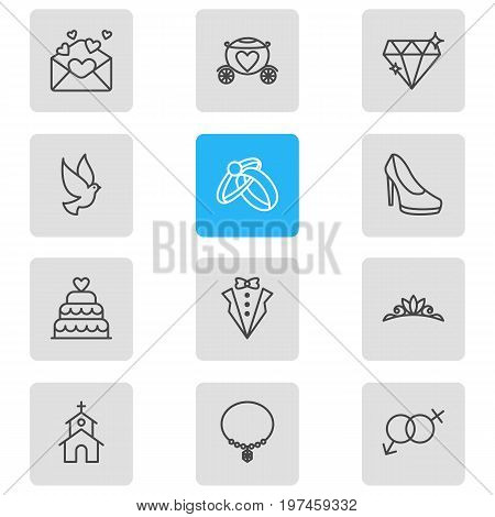 Editable Pack Of Jewelry, Patisserie, Bridegroom Dress And Other Elements.  Vector Illustration Of 12 Marriage Icons.