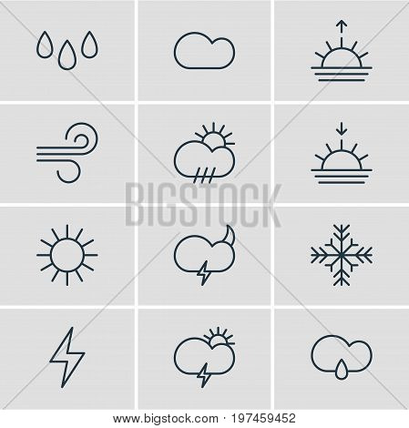Editable Pack Of Weather, Drip, Cloudy And Other Elements.  Vector Illustration Of 12 Sky Icons.