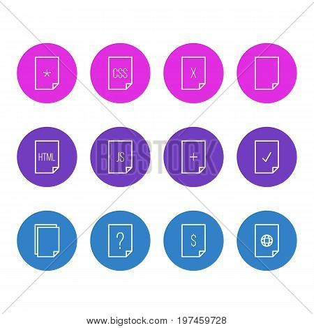 Editable Pack Of Plus, Basic, Code And Other Elements.  Vector Illustration Of 12 File Icons.