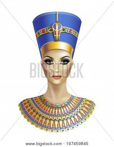 Egyptian queen Nefertiti isolated on white background.