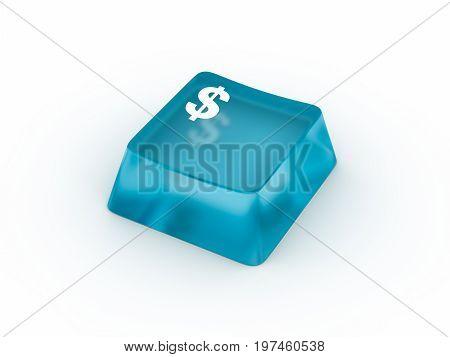 Dollar symbol on transparent keyboard button. 3D rendering