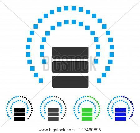 Database Sphere Shield flat vector illustration. Colored database sphere shield gray black blue green icon variants. Flat icon style for graphic design.