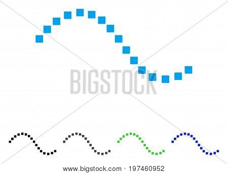 Dotted Function Line flat vector illustration. Colored dotted function line gray black blue green icon variants. Flat icon style for web design.