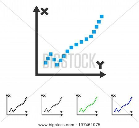 Function Plot flat vector illustration. Colored function plot gray black blue green pictogram versions. Flat icon style for application design.