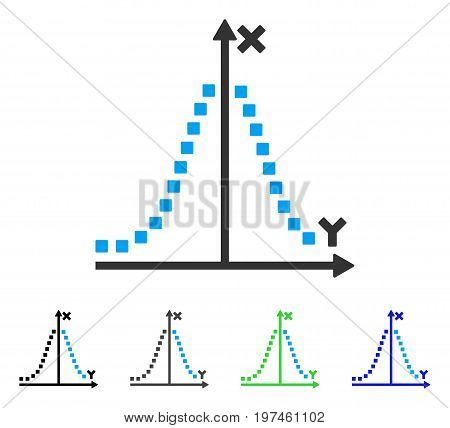 Gauss Plot flat vector illustration. Colored gauss plot gray black blue green pictogram versions. Flat icon style for application design.