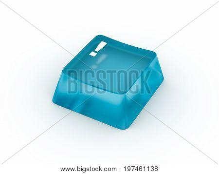 Exclamation symbol on transparent keyboard button. 3D rendering