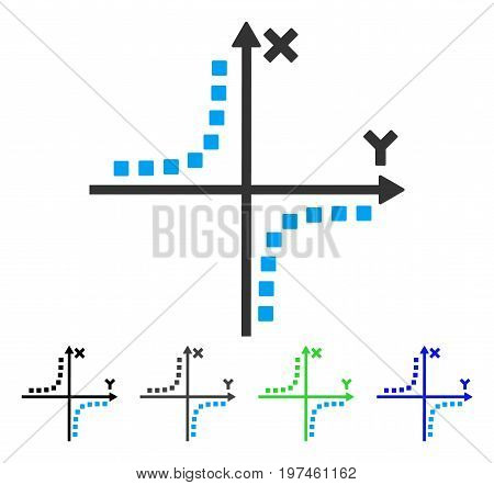 Hyperbola Plot flat vector pictogram. Colored hyperbola plot gray black blue green pictogram variants. Flat icon style for application design.