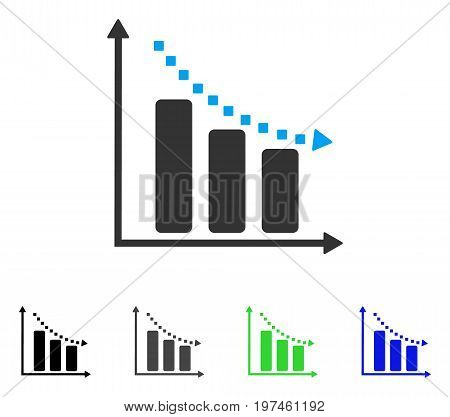Negative Trend flat vector icon. Colored negative trend gray black blue green icon variants. Flat icon style for web design.