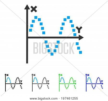 Sine Plot flat vector pictogram. Colored sine plot gray black blue green pictogram versions. Flat icon style for web design.