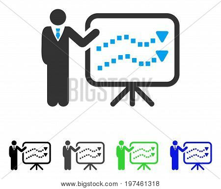 Trends Lecture flat vector illustration. Colored trends lecture gray black blue green pictogram versions. Flat icon style for web design.