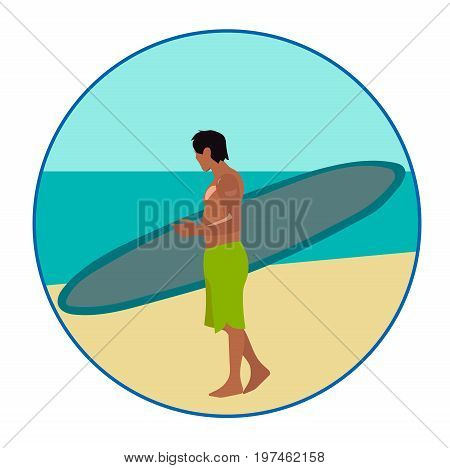 Surf-riding man on the ebach, vector icon or sign