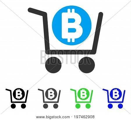 Bitcoin Shopping Cart flat vector illustration. Colored bitcoin shopping cart gray, black, blue, green icon versions. Flat icon style for graphic design.