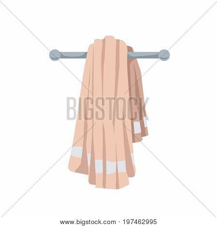 Vector illustration of folded cotton towel. Cartoon trendy flat style. Bath beach pool and healthcare icon.
