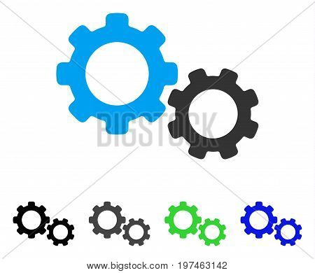 Gears flat vector pictogram. Colored gears gray, black, blue, green pictogram variants. Flat icon style for graphic design.
