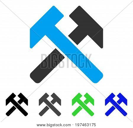 Hammers flat vector icon. Colored hammers gray, black, blue, green pictogram versions. Flat icon style for application design.