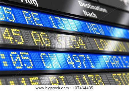 3D render illustration of airport arrival and departure board with timetable of international and local or domestic airliner flights with selective focus effect
