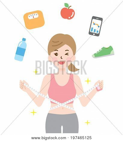 sporty woman measuring her waistline. diet and health concept