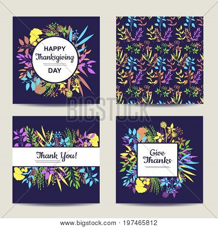 Set of four herbal card templates. Square cards for thanksgiving day vector illustration