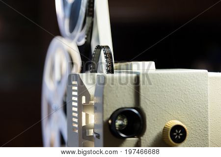 Amateur cinema. Projector for 8mm film. 1960s, 1970s, 1980s years. Home cinema. Film super 8