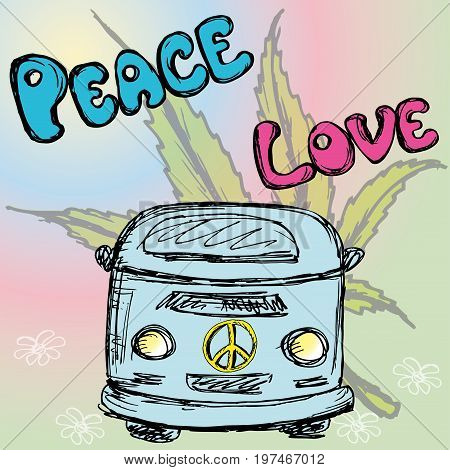 Hippie van and lettering- peace and love